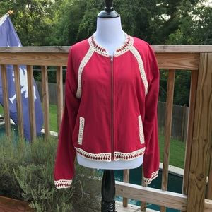 Free People red bomber jacket with crochet trim
